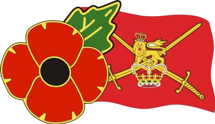 Poppy Car Sticker With Army Flag